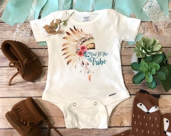 7155f25af2d8 New to the Tribe Onesie®, Baby Girl Clothes, Boho Baby Clothes, Baby Shower  Gift, Boho Onesies, Cute Onesies, Baby Girl Gift, Indian Baby