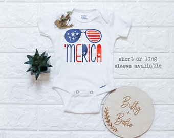 Star Spangled Baby Bodysuit Baby Girl or Boy Unisex Outfit Patriotic Military American 4th of July Bodysuit