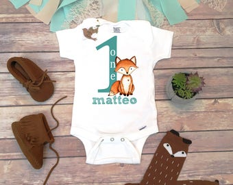 725507ae4 First Birthday Boy, Custom Birthday Onesie®, Woodland Birthday Shirt,  Custom First Birthday Outfit Boy,Woodland Fox Birthday Party One Shirt