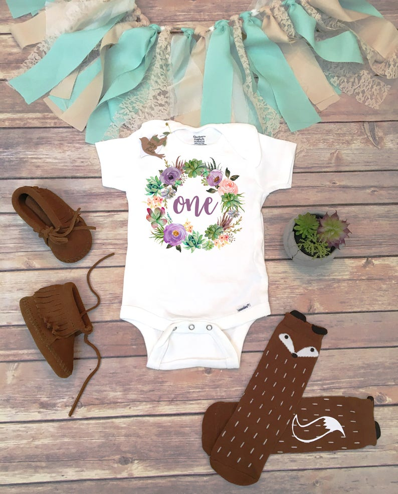 07ea3cac7 One Baby Bodysuit First Birthday Outfit Girl Succulent