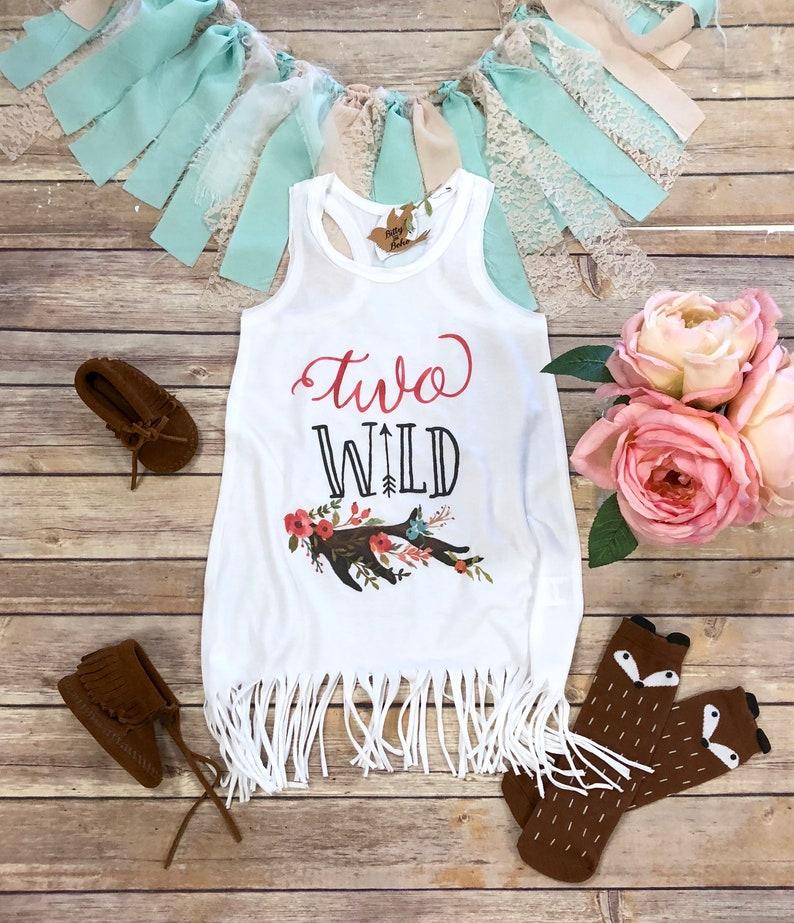 af6e2f57800b Second Birthday Fringe Dress Boho Baby Clothes Two Wild
