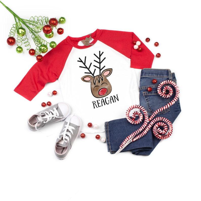 Christmas Baby Outfit Custom Reindeer Shirt Red Raglan Tee Cute Christmas Shirts Personalized Christmas Shirts Christmas Baseball Shirt