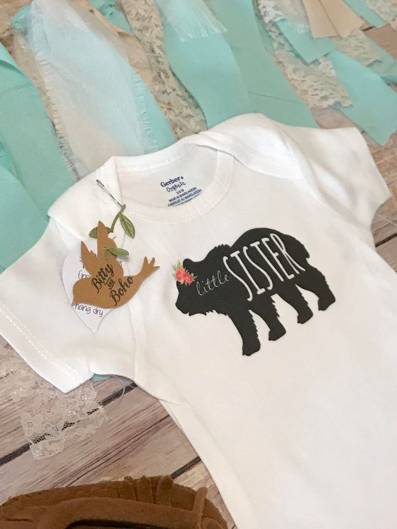 Sister Bear Shirt Boho Baby Clothes Big Sister Little Hipster Baby Little Sister Onesie\u00ae Baby Shower Gift,Bodysuit,Rustic Sister Shirts