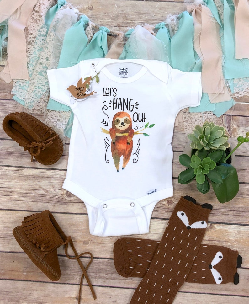 Funny Onesies Let S Hang Out Sloth Onesie Baby Shower Etsy