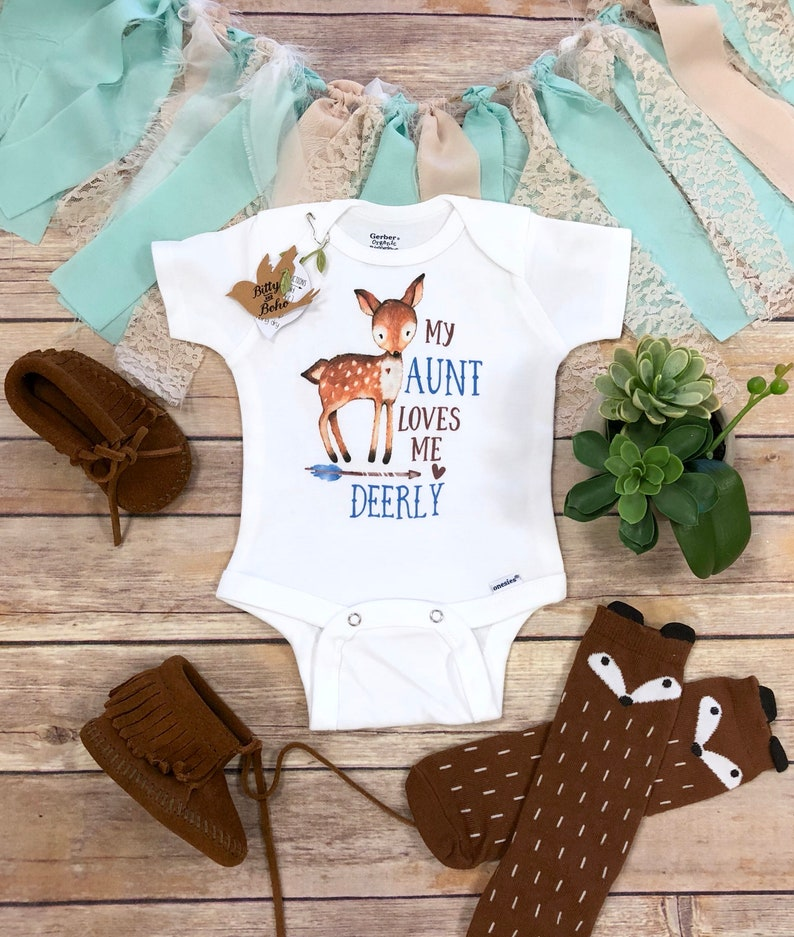 165dcef6e6aa Aunt Onesie® Aunt Gift My Aunt Loves Me Deerly Aunt Baby | Etsy