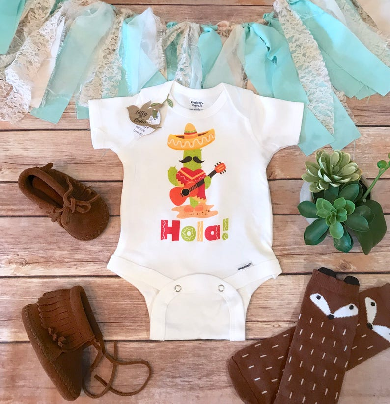 df646d7be Hola Baby Onesie® Hipster Baby Funny Baby Onesies Cinco De   Etsy