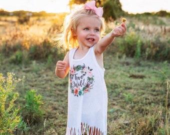 Two Wild Birthday Dress, Second Birthday Outfit Girl, 2nd Birthday Outfit Girl, Second Birthday Girl Dress Boho Fringe Dress Cactus Birthday