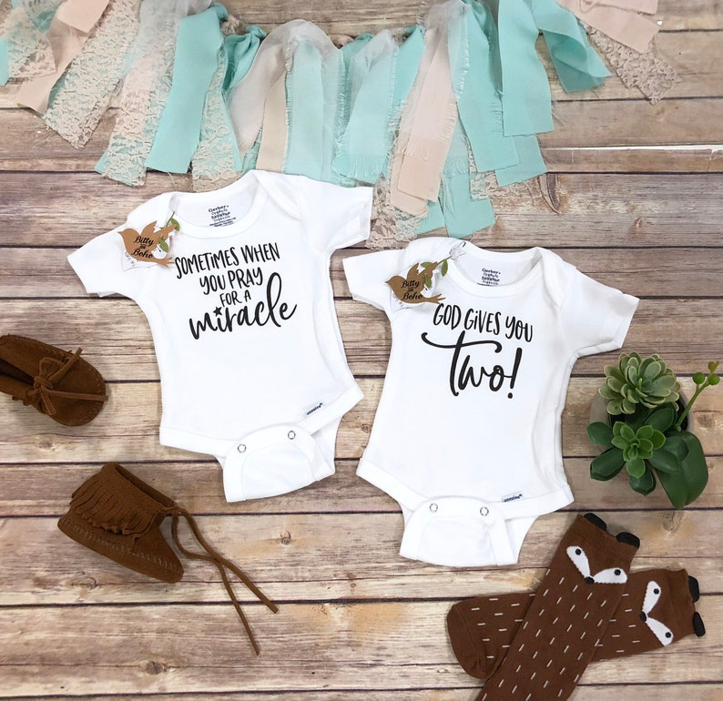 Twins Onesie®, Sometimes When You Pray For A Miracle God Gives You Two  Pregnancy Announcement Shirts,Twin Baby Set,We're Having Twins Reveal