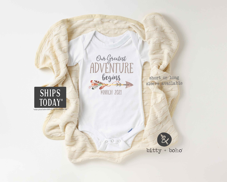 Pregnancy Reveal Onesie\u00ae Our Greatest Adventure Begins Onesie\u00ae Personalized Month /& Year Announcement Onesie\u00ae