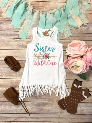 Sister of the Wild One Birthday Girl Dress, Wild One Birthday Party, Boho Birthday, Wild One Shirt, Cute Sister of the Birthday Girl Dress