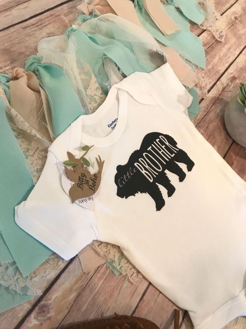 Hipster Baby Bodysuit Little Brother Onesie\u00ae Boho Baby Clothes Big Brother Little Brother Bear Shirt Baby Shower Gift Rustic Baby