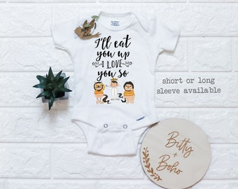 Unique Baby Gift, Monster Onesie®, I'll Eat You Up I Love You So, Baby Shower Gift, Funny Baby Onesies, Take Home Outfit,Unisex Baby Clothes