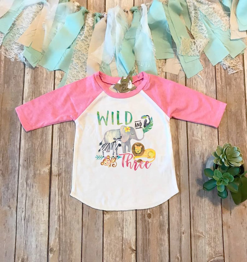 6efb8cc78 Third Birthday Shirt Wild and Three Shirt Zoo Birthday | Etsy