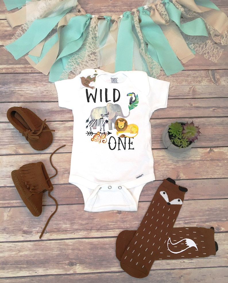 First Birthday Boy Wild One OnesieR Zoo Shirt Outfit Animal Party Theme