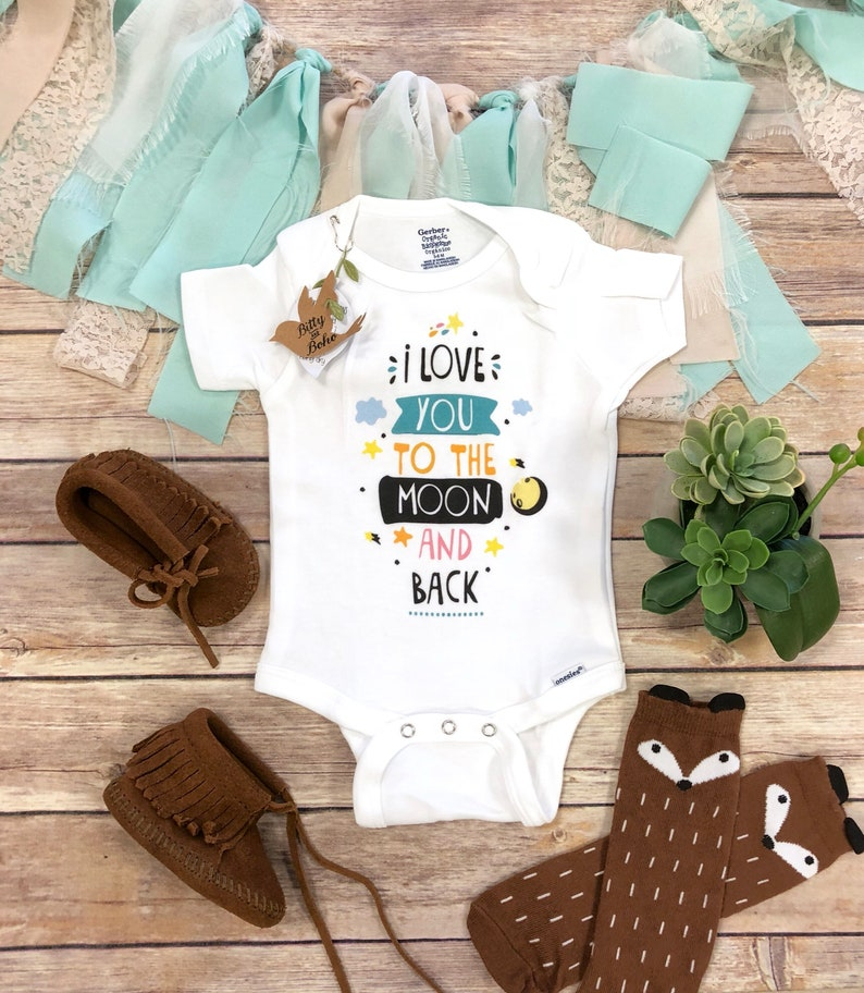 cc49fd94c7 I Love You To The Moon And Back Onesie® Baby Boy Clothes | Etsy
