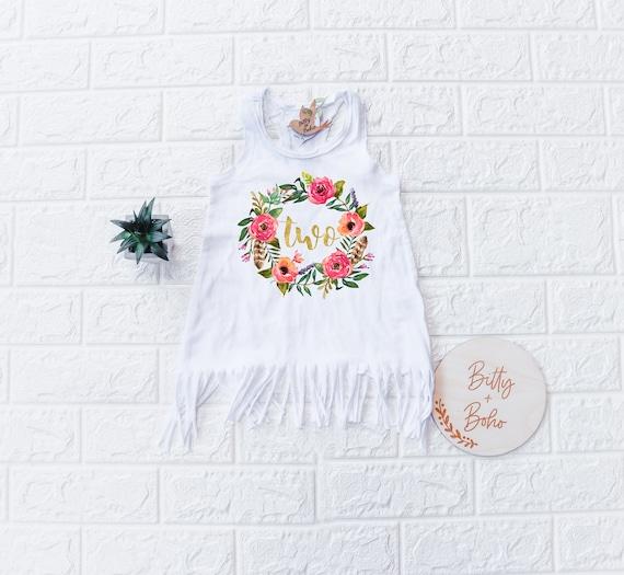 Two Wild Boho Shirt Second Birthday Girl Outfit 2nd Birthday Outfit Boho Baby Clothes Second Birthday Bodysuit Boho Flowers Birthday Party