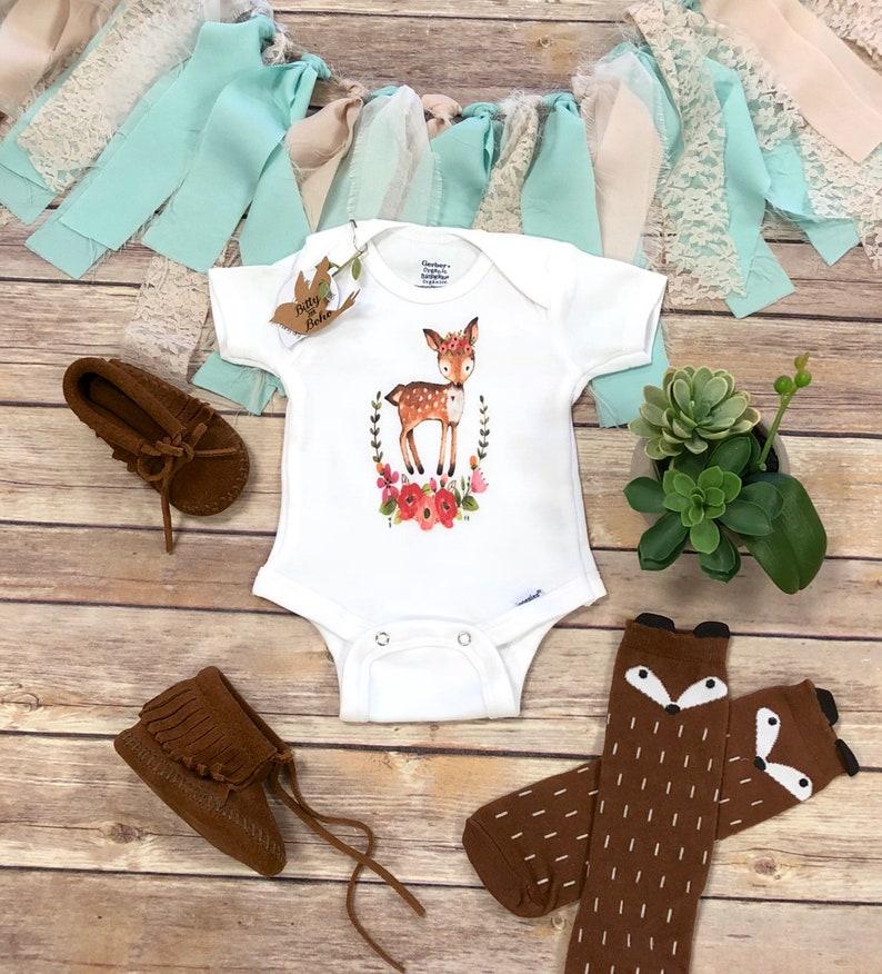 ecc7847f96e Deer Onesie® Baby Girl Clothes Boho Baby Clothes Baby