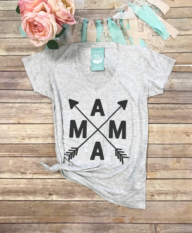 Mama Shirt Arrow Mama V Neck Shirt New Mom Shirt Womens Etsy