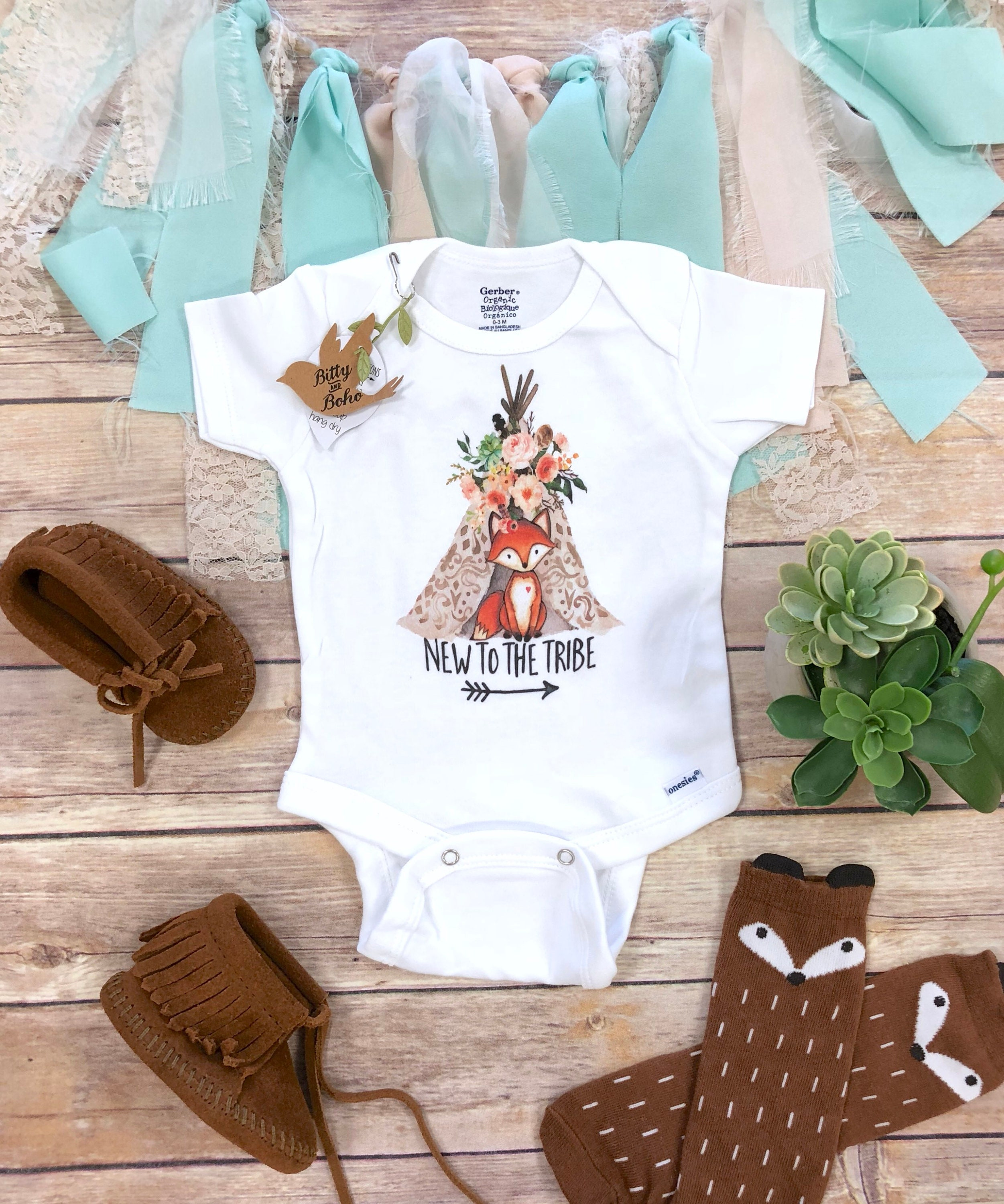 Fox Onesie Baby Girl Clothes Boho Baby Clothes Baby Shower Etsy