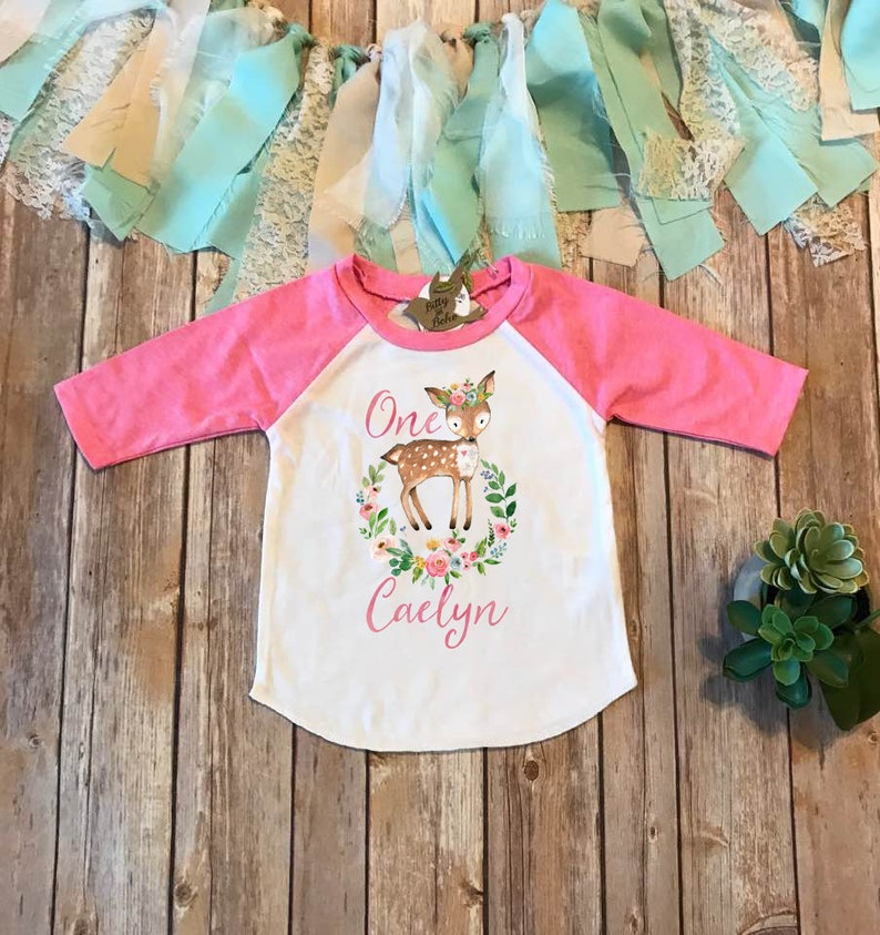 Custom First Birthday Shirt Deer Woodland