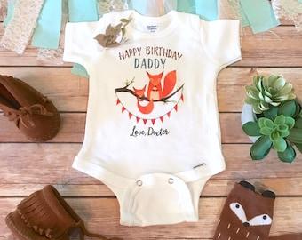 Happy Birthday Daddy Onesie®, Daddy Onesie, Father's Birthday Gift from Baby, Custom Onesie, Fox Onesie, Daddy Baby Outfit, Dad Onesie