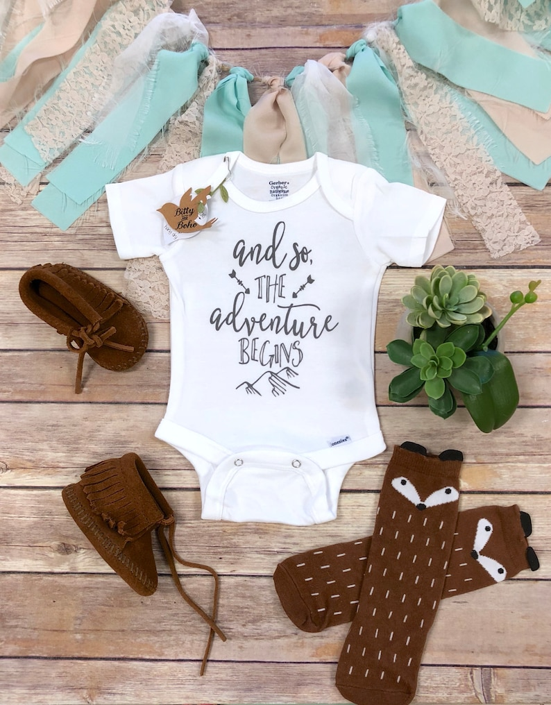 5219ce6f4 And So The Adventure Begins Onesie® Baby Shower Gift Baby