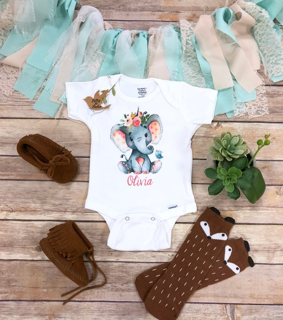 67b86357cc8 Elephant Onesie® Custom Elephant Baby Shower Gift Name