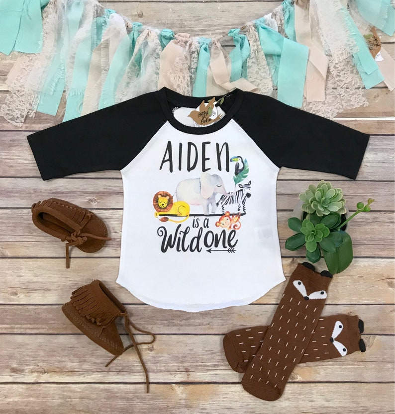 b1377e359 Custom Wild One Shirt First Birthday Boy Shirt Zoo Birthday | Etsy