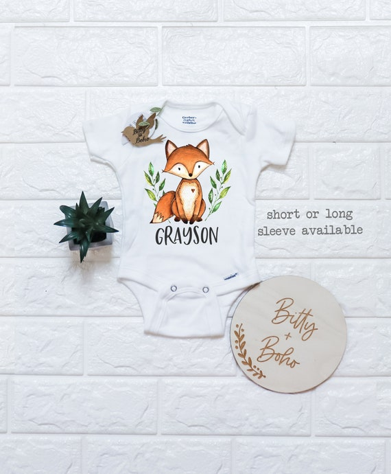 New Baby Boys Woodland Fox Personalized Infant Bodysuit Coming Home Outfit