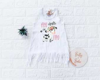 Moo Moo I'm 2 Dress, Second Birthday Outfit Girl, 2nd Birthday Outfit Girl, Cow Birthday Dress, Farm Birthday Outfit, Holy Cow I'm Two Tank