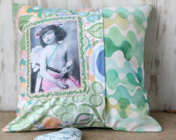Child bedroom cushion, orange pink green blue, 40 x 40 cm, cover and trim included, double-sided