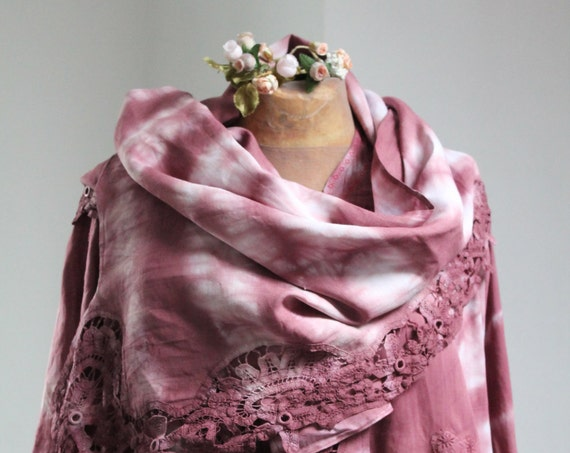 Tie Dye Large Scarf / Stole / Vintage Shawl - Hand made in France - Color Bordeaux