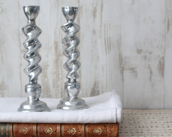 Silver candlesticks x 2, chrome steel from the 1990s, Candlelight Meals, Head to Head in Love, Gift for the Bride, BG150205