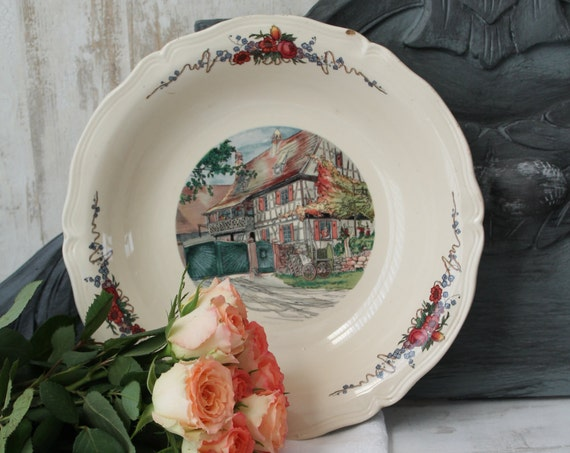 French vintage dish from SARREGUEMINES OBERNAI, French ceramics, Serving dish, OBERNAI crockery / French crockery, PLT160378