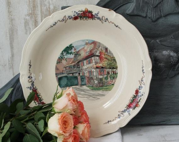French vintage dish from SARREGUEMINES OBERNAI, French ceramics, Serving dish, OBERNAI crockery / French crockery, PLT160378