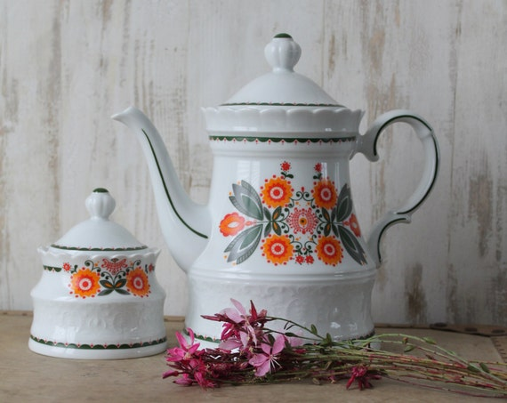 Large Teapot and Sugar Bowl, Luxury Porcelain, EDELSKIN, Vintage Crockery, German Teapot, Orange and Green Teapot, THE160417