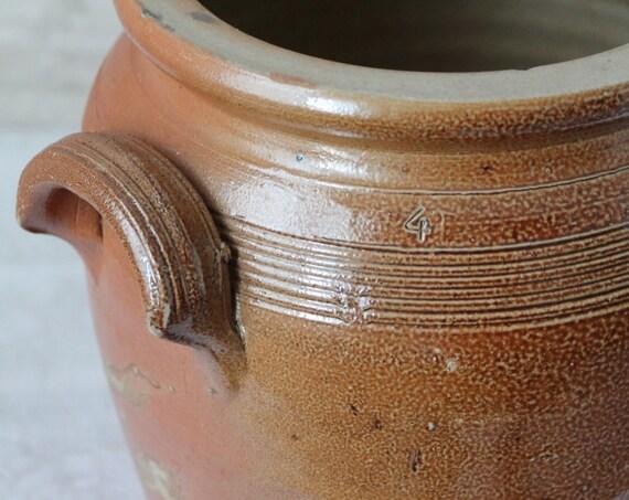 Stoneware storage jar with ears, shabby french decor, vintage jar, GRES160641
