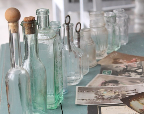 Collection of 9 Bottles, Glass Bottles of France Pharmacy, Accumulation Glass, Apothecary Industrial Decor, Cabinet Curiosities,