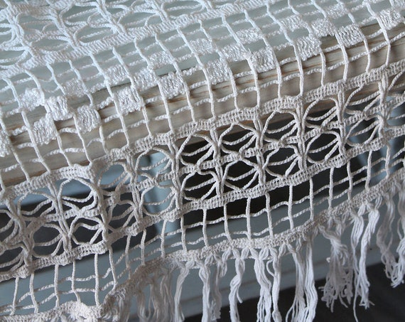 "Crochet furniture decoration with fringes - 1970', 27x17"", crochet handmade decor, shabby vintage,"