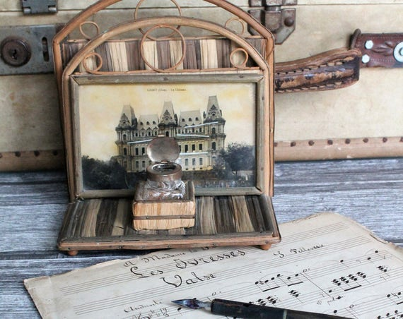 Vintage inkwell on wicker post holder - Office decor - 30s decor - vintage shabby decor - castle decor, cabinet of curiosities