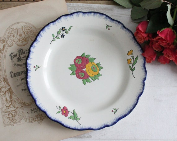 "1 hand painted decorative plate from the pottery SALINS, in ""Terre de fer"", from France"