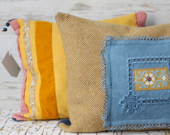 Bohemian Chic Cushion, Double Sided, Girls Bedroom Decor, Yellow Cushion, Yellow Decor / Bohemian Chic / COUS150036