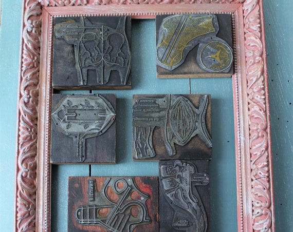 6 antique medical printing pads, industrial decor, shabby decor, medecine decor, 160453