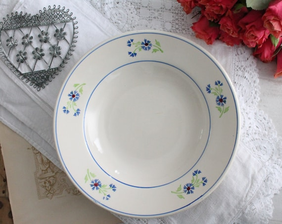 Blue soup plate, ceramic from France, vintage dinner set, kitchenware, white and blue dinnerware, 1930