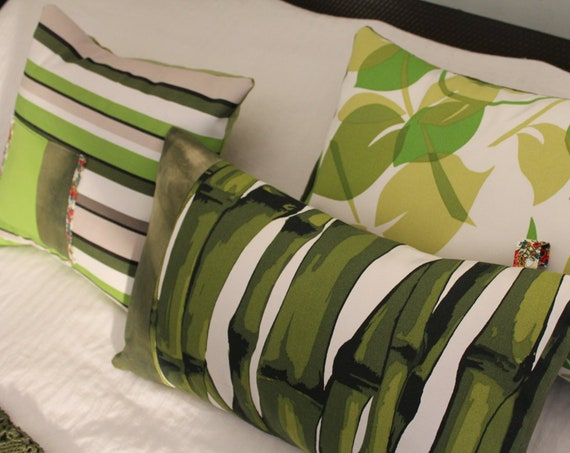 3 green cushions, editor fabrics, Made in France by me, unique creation, COUS150123