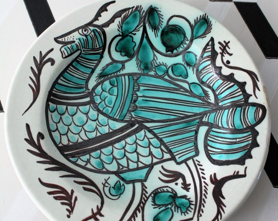 ceramic large vintage dish from Spain, turquoise and white, hand painted