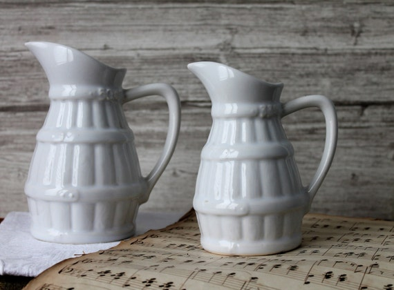 2 French antique pitchers in white ceramic, French coffee carafes, circa 1960, Vintage crockery - Pitcher 33cl, 50 cl, PCH160651