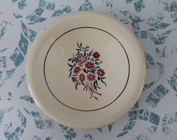 French antic dish from BADONVILLER F France, with the shabby pattern of blue and raspberry flowers