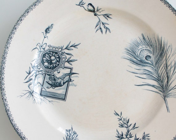 French Ironstone round serving dish, opaque porcelain, with transfered pattern, 21 rue Drouot Paris, PLT181469