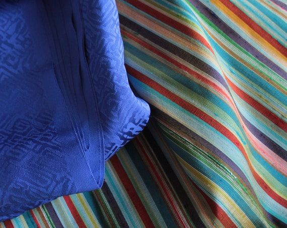 Bianchini Férier silk, real multicolored striped wild silk, luxury vintage fabric, TIS201910